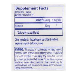 Melatonin 20mg Supplement Facts